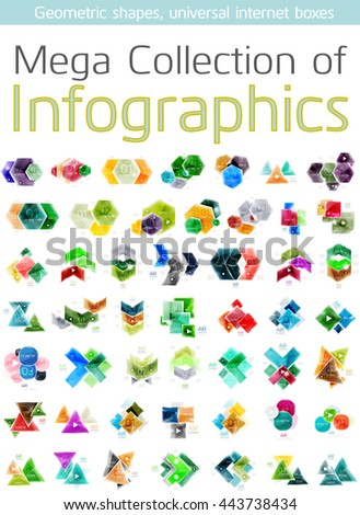 Mega collection of geometric shape infographics - vector set of business modern presentation templates, icon elements with data in origami style