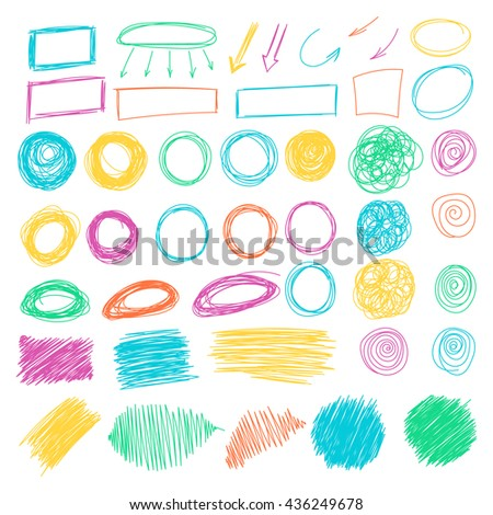 Mega collection of Hand drawn Scribble circle, oval, rectangle, border elements in trendy grunge style. Vector abstract pencil doodles set of shapes, frames isolated on white background.