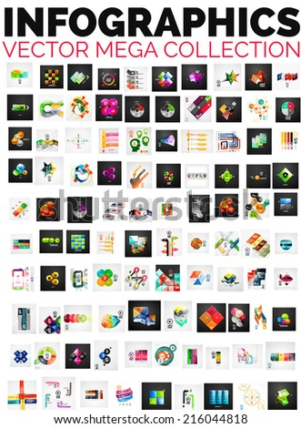Mega collection of 100 infographic layouts - banners, backgrounds, brochure templates - stock vector