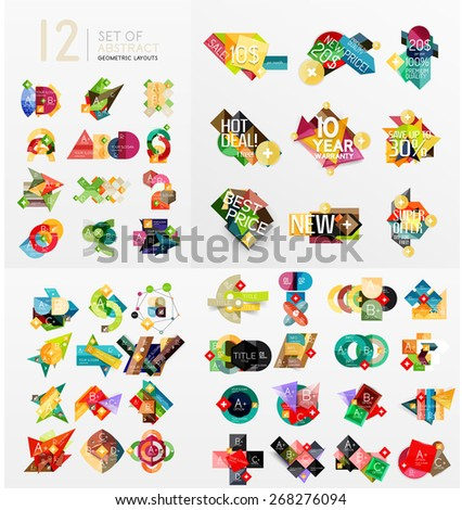 Mega collection of paper graphic banners, labels, infographic layouts, sale badges, - stock vector