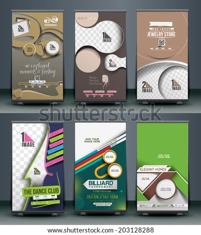Mega Collection of Roll Up Banner Design. - stock vector