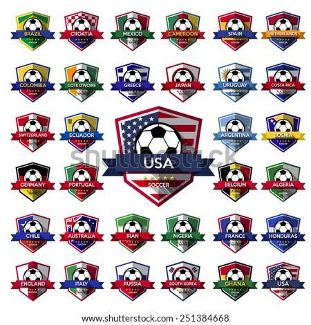 Mega Collection of soccer ( football ) badge.Illustration eps10 - stock vector