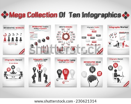 MEGA COLLECTION OF TEN INFOGRAPHIC BUSINESS RED - stock vector