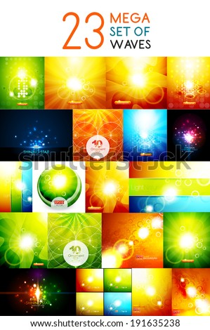 Mega collection of warm shiny backgrounds. For nature concept, energy technology design, environmental presentations - stock vector