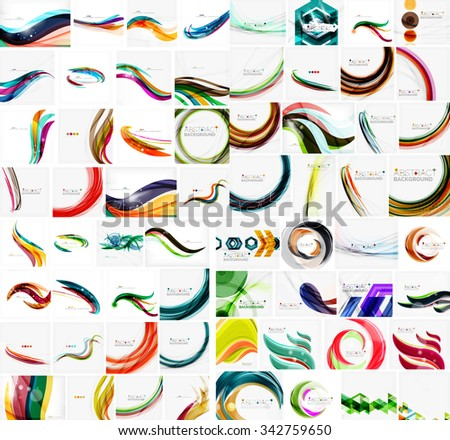 Mega collection of wave abstract backgrounds with copy space. For business tech design templates, web design, presentations. Vector illustration - stock vector