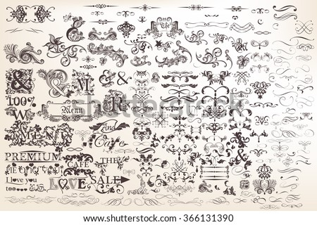 Mega collection or set of vector hand drawn calligraphic elements and page decorations for design - stock vector