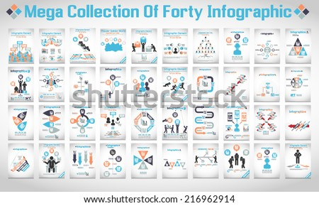 MEGA COLLECTIONS OF FOURTY MODERN ORIGAMI BUSINESS ICON MAN STYLE OPTIONS BANNER  - stock vector
