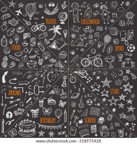 Mega doodle design elements vector set. travel, childhood, sport, school, birthday, arrows, food.  - stock vector