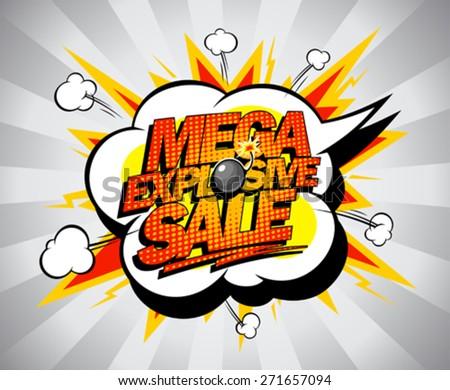 Mega explosive sale pop-art banner - stock vector