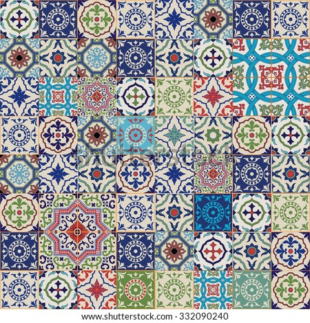 Mega Gorgeous seamless patchwork pattern from colorful Moroccan, Portuguese  tiles, Azulejo, ornaments.. Can be used for wallpaper, pattern fills, web page background,surface textures.  - stock vector