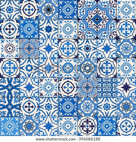 Mega Gorgeous seamless patchwork pattern from dark blue and white Moroccan, Portuguese  tiles, Azulejo, Arabic ornament. Islamic art.  - stock vector