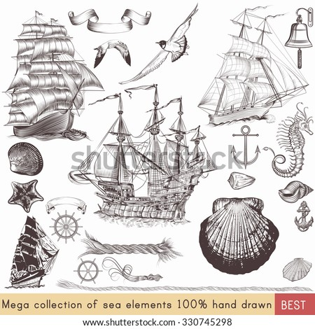 Mega nautical pack with ships, shells and other sea elements for your design - stock vector