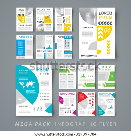 Mega pack Infographic flyer design template set - stock vector