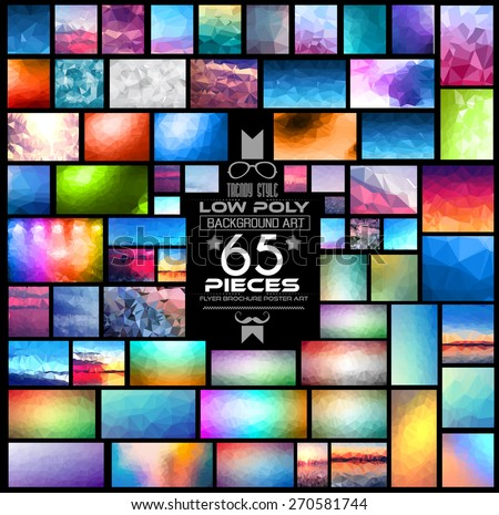 Mega Pack of Low Polygonal Backgrounds: 65 pieces included. A lot of different shapes, styles and color combinations. Ideal for printed brochures, digital advertising wallpapers or flyer backgrounds. - stock vector