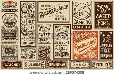 mega pack old advertisement designs and labels - Vintage illustration - stock vector