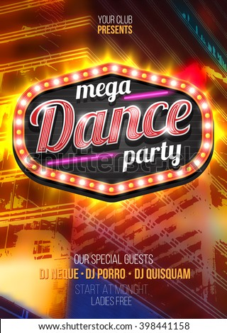 Mega Party Dance Poster Background Template with retro light frame on red urban background - Vector Illustration - stock vector