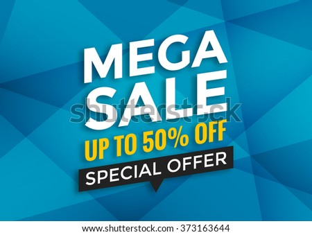 Mega sale banner design, vector illustration, modern