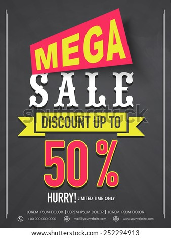 Mega Sale Flyer Banner Template Design Stock Vector