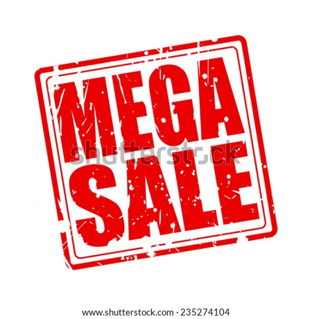 Mega sale red stamp text on white - stock vector
