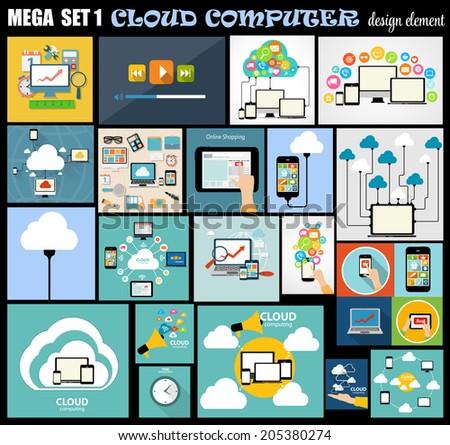 Mega Set Flat Computer Design Vector Illustration - stock vector