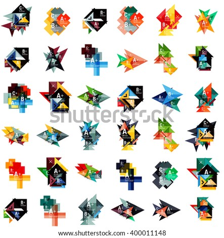 Mega set of abstract geometric web option box banners. Triangles, squares, rectangles and other shapes - buttons with text. Vector illustration - stock vector