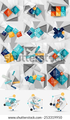 Mega set of color paper infographics, vector business design template - stock vector