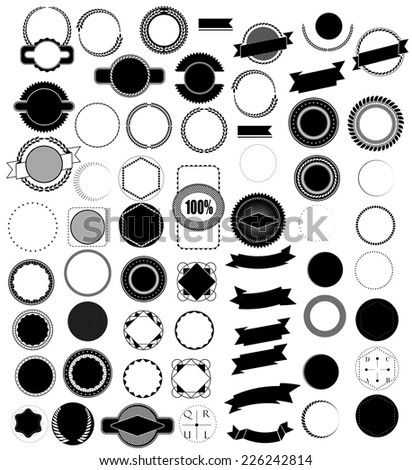 Mega set of design elements for retro label and ribbons - stock vector