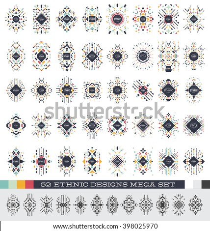 Mega Set of geometric abstract templates - 52 ethnic style designs - collection of colorful and black tribal design elements - stock vector