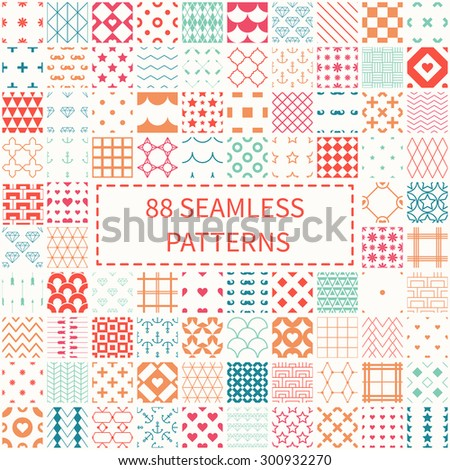 Mega set of 88 geometric universal different seamless decorative patterns. Wrapping paper. Scrapbook paper. Tiling. Vector backgrounds collection. Endless graphic texture ornaments for design. - stock vector