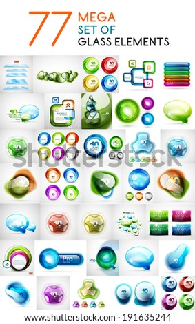Mega set of glass abstract shapes design elements for business backgrounds | banners | business templates | graphic website layout - stock vector