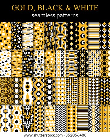 Mega set of gold, black and white ethnic pattern. Arabic, Mexican, Peruvian, Bolivian, Brazilian, South African, Indian, Aztec and Asian seamless pattern.  - stock vector