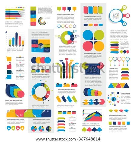 Mega set of infographic elements charts, graphs, circle charts, diagrams, speech bubbles. Flat and 3D design. Vector. - stock vector