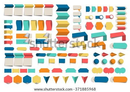 Mega set of infographics flat design elements, schemes, charts, buttons, speech bubbles, stickers. Vector illustration. - stock vector
