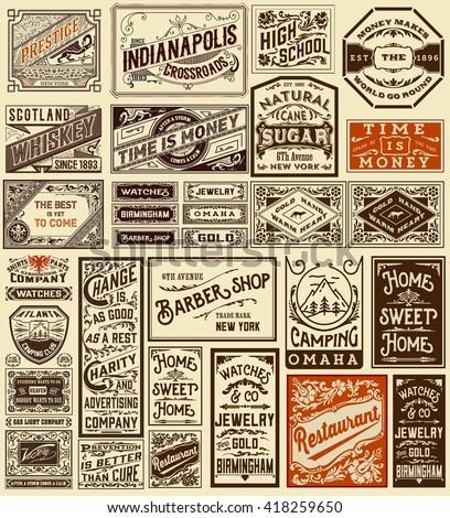 Mega set of old advertisement designs and labels - Vintage illustration - stock vector