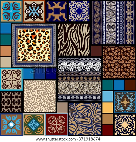Mega set of seamless vector patterns with ethnic motifs. Boho style stripes, floral ornaments, animal skin prints, ceramic tiles. Ethnic textile collection. Blue and golden shadows palette. - stock vector