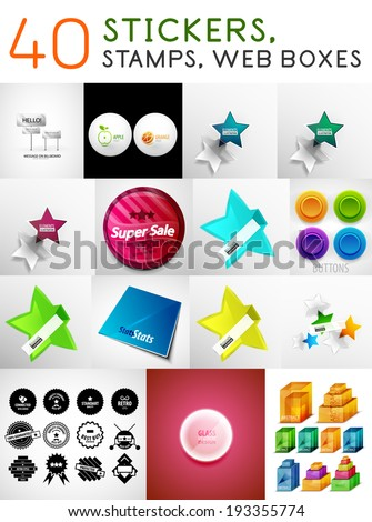 Mega set of stickers, stamps and web boxes. Vector design elements - round labels, stars and badges - stock vector