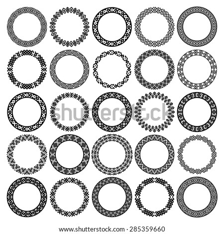Mega set of 25 the most popular round frames. Monochromatic ethnic borders in huge collection. Isolated on white background. Vector illustration. Can use for monogram, logo and stamp designs - stock vector