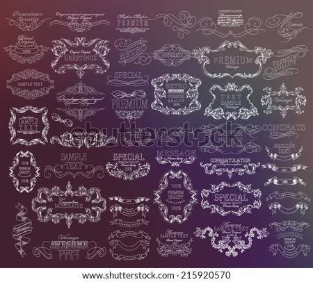 Mega set of thin Line frames and scroll elements. Set of calligraphic and floral design elements - stock vector
