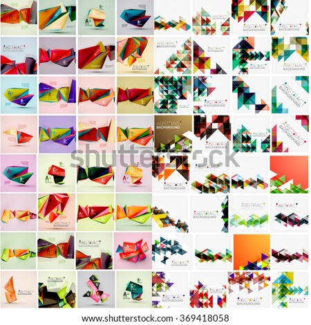 Mega set of various style geometrical templates - stock vector