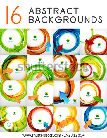 Mega set of vector swirl abstract backgrounds. 16 design templates - stock vector