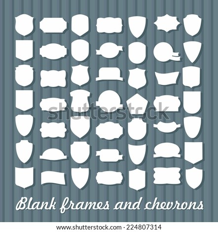 Mega Set of vintage frames for emblems, labels, insignia. Blanks chevrons and coats of arms - stock vector