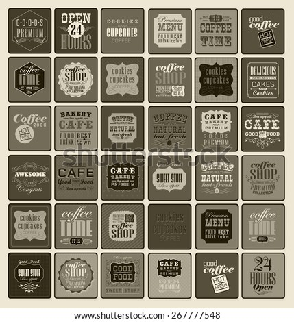 Mega set of Vintage Retro Coffee  Labels and typography. Pattern in retro style - stock vector