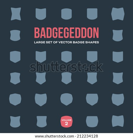 Mega set of vintage vector badge shapes, collection of design elements for creating retro logos (volume 2) - stock vector
