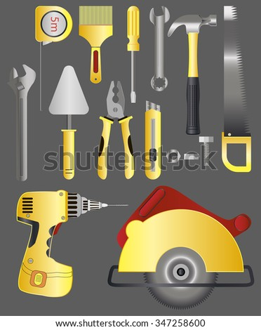 MEGA Set Tools for home repair. Key, tape measure, hammer, hacksaw, knife, screwdriver, pliers, brush and more. Vector illustration.in isolation from the background. - stock vector