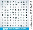 Mega web and media icon set - stock vector