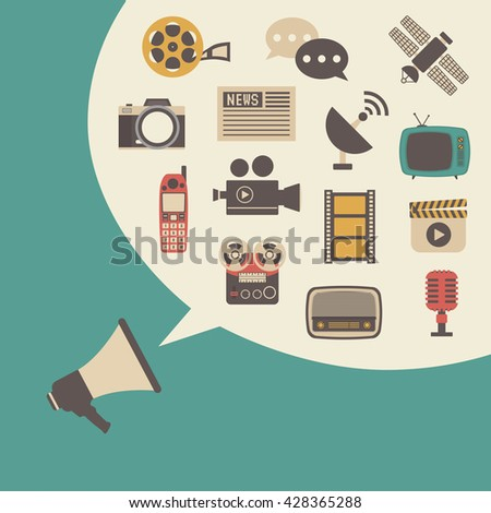megaphone and bubble speech, vintage style - stock vector