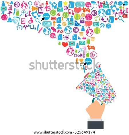 Megaphone and cloud technology with social network icons background