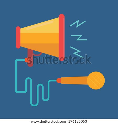 megaphone and microphone,Digital marketing concept,vector,illustration.