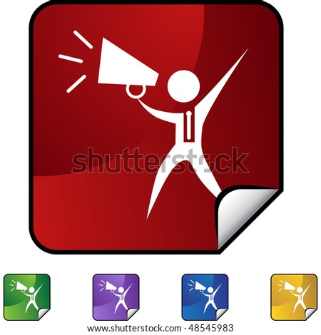 Megaphone businessman web button isolated on a background