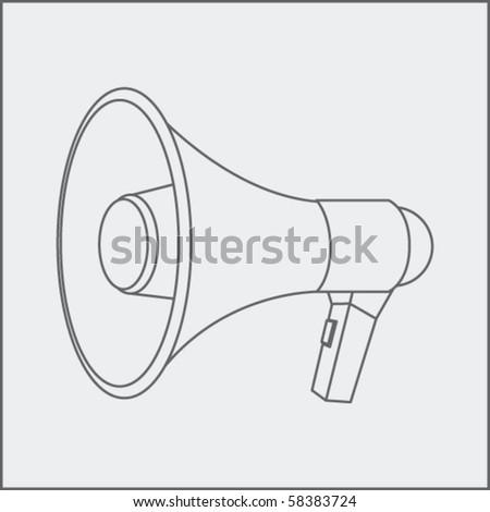 megaphone drawing - stock vector